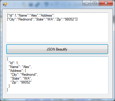 JSON Beautifier 실행