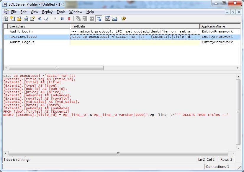 Profiler에서의 EF SQL문